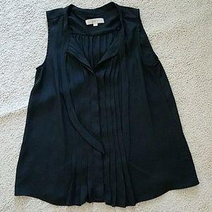 Loft black sleeveless blouse pleated detail + bow